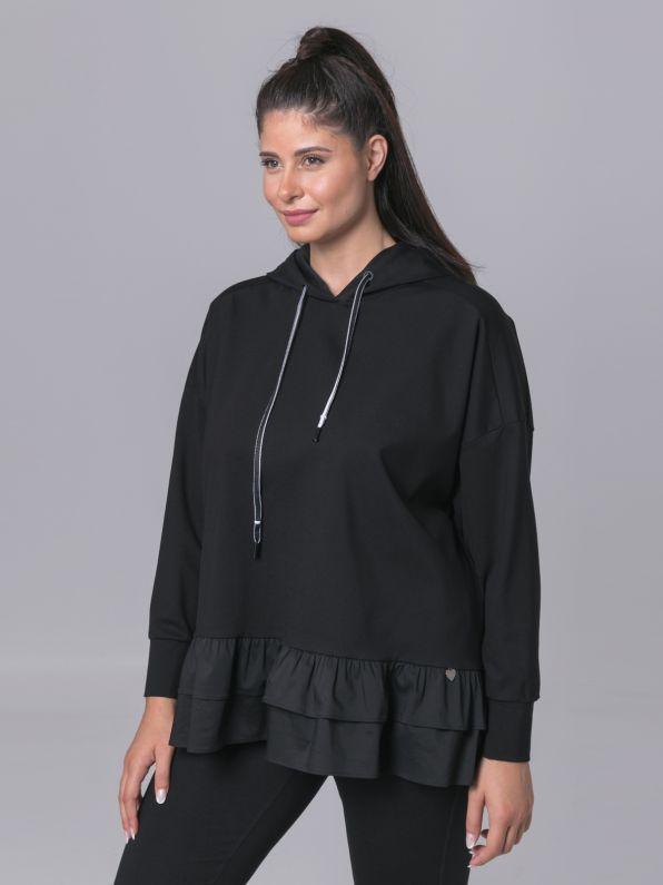 Μπλούζα φούτερ με κουκούλα & βολάν | Comfort Collection