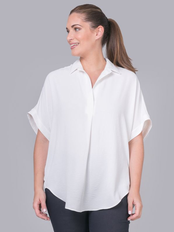 V-neck crepe shirt