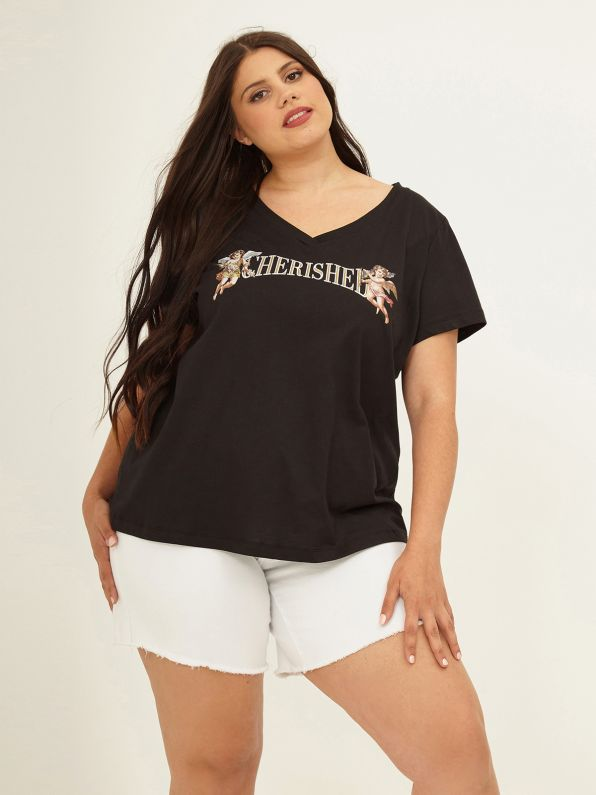 Cotton t-shirt 'Cherished'