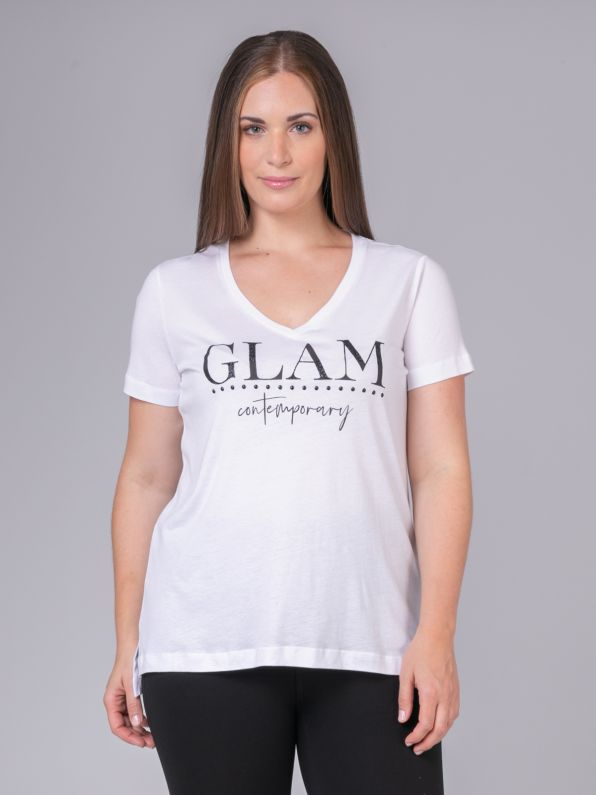 'Glam Contemporary' logo t-shirt with glitter & studs