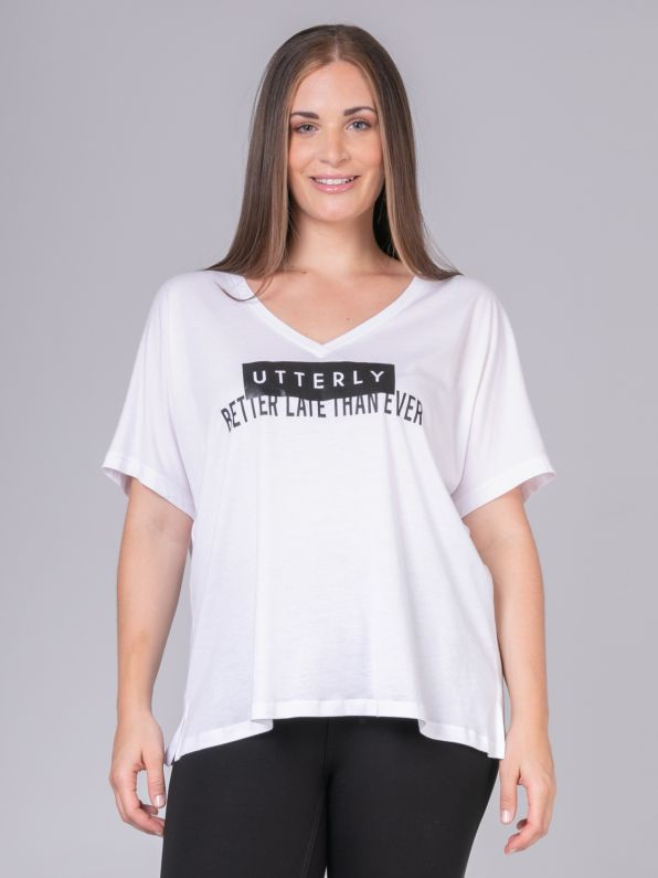 'Utterly - Better Late Than Ever' logo t-shirt