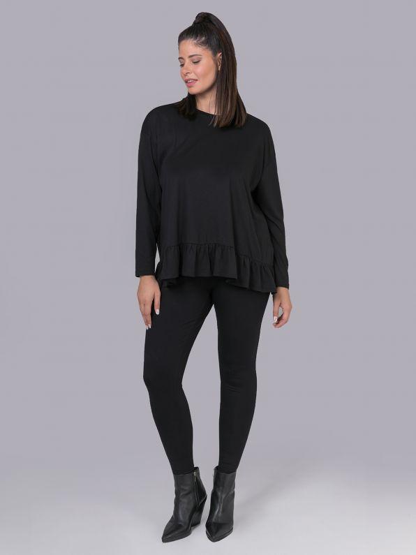 Cotton/modal blouse with ruffled hem