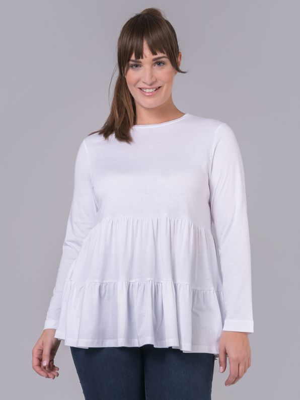 Cotton/modal blouse with tiered hem