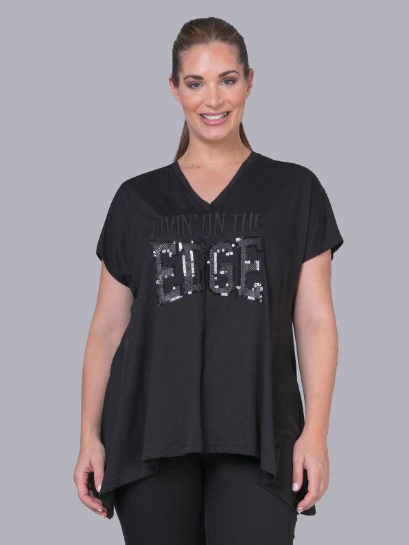 Sequin 'Livin' On The Edge' logo t-shirt