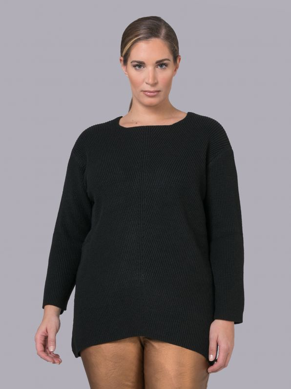 Ribbed boat-neck pullover