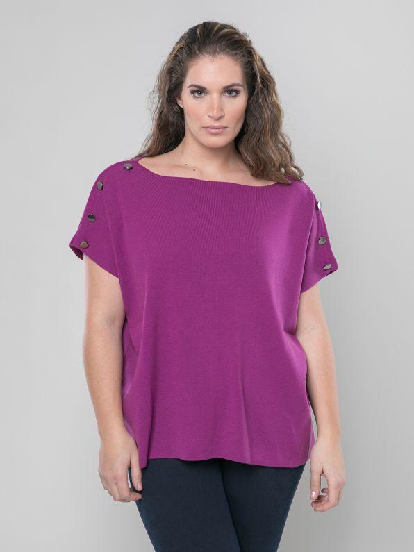 Πλεκτή μπλούζα με λαιμόκοψη-χαμόγελο & κουμπιά στους ώμους