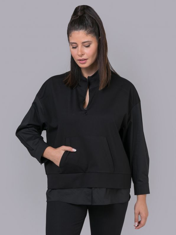 Viscose zipped sweat with poplin hem