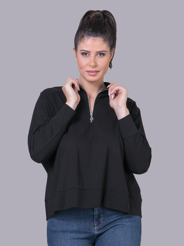 Μπλούζα φούτερ με φερμουάρ στη λαιμόκοψη | Comfort Collection