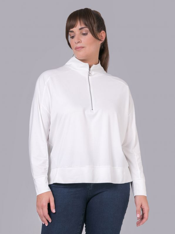 Viscose long-sleeve sweat with zipped neck
