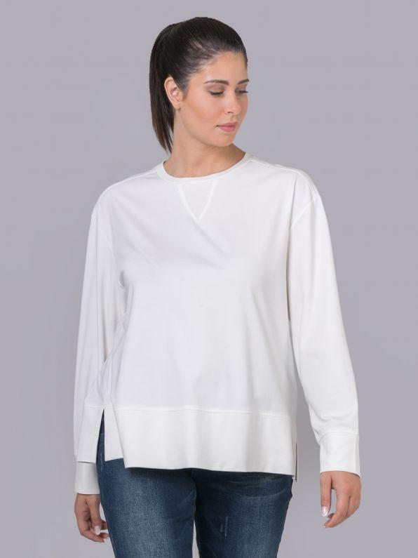 Μπλούζα φούτερ μονόχρωμη με λεπτομέρεια στο λαιμό | Comfort Collection