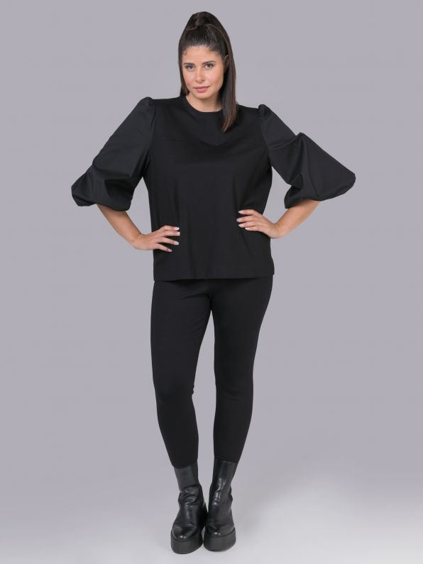 Viscose top with puff sleeves