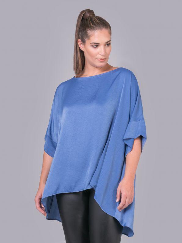 Boat-neck satin blouse in indigo