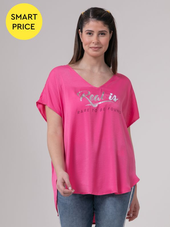 Satin top with sequin logo