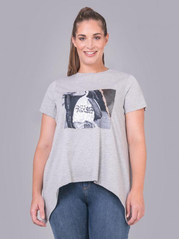 Βαμβακερή μπλούζα με στάμπα & μύτες