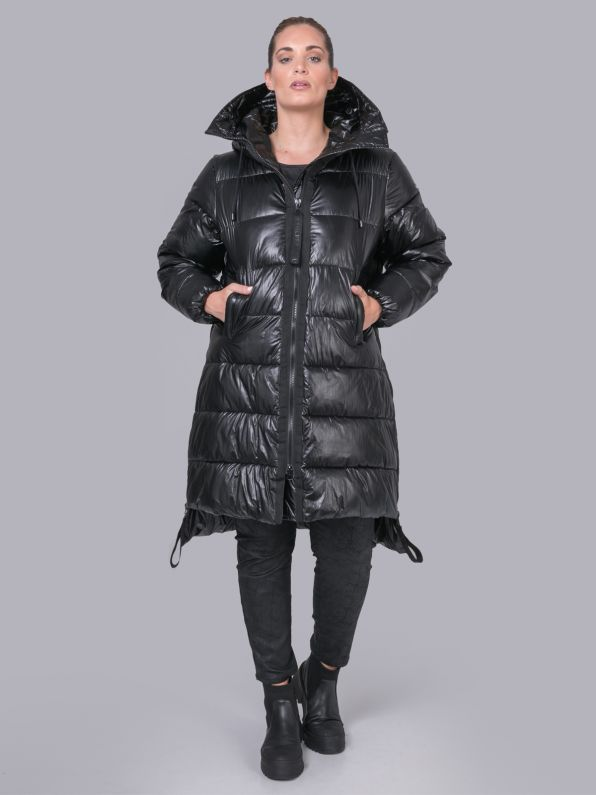 Hooded puffer coat with zippers
