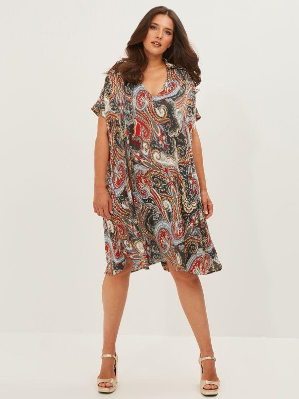 Φόρεμα σατέν paisley με γιακά