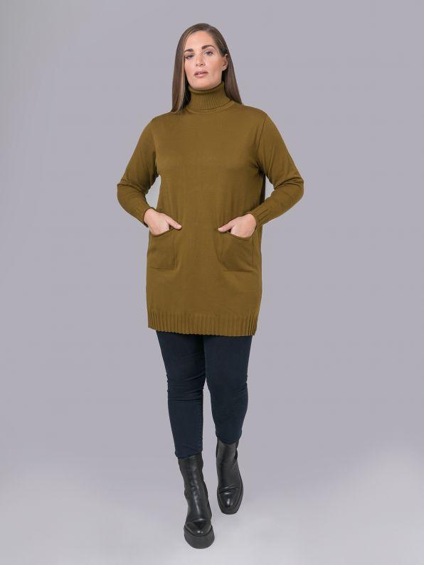 Πλεκτό μπλουζοφόρεμα ζιβάγκο με τσέπες