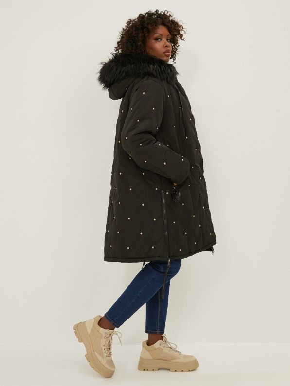 Puffer coat with faux fur hood & studs