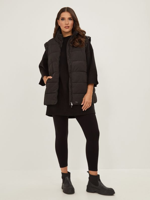 Puffer vest with stone decoration