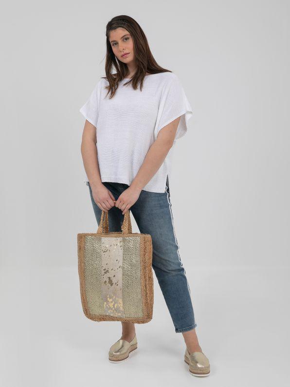 Τσάντα shopper ψάθινη