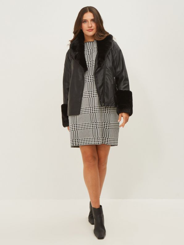 Leather like jacket with faux fur trims