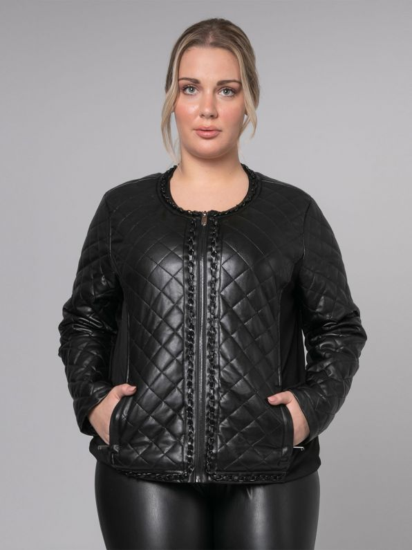Quilted leather-like biker jacket with chains