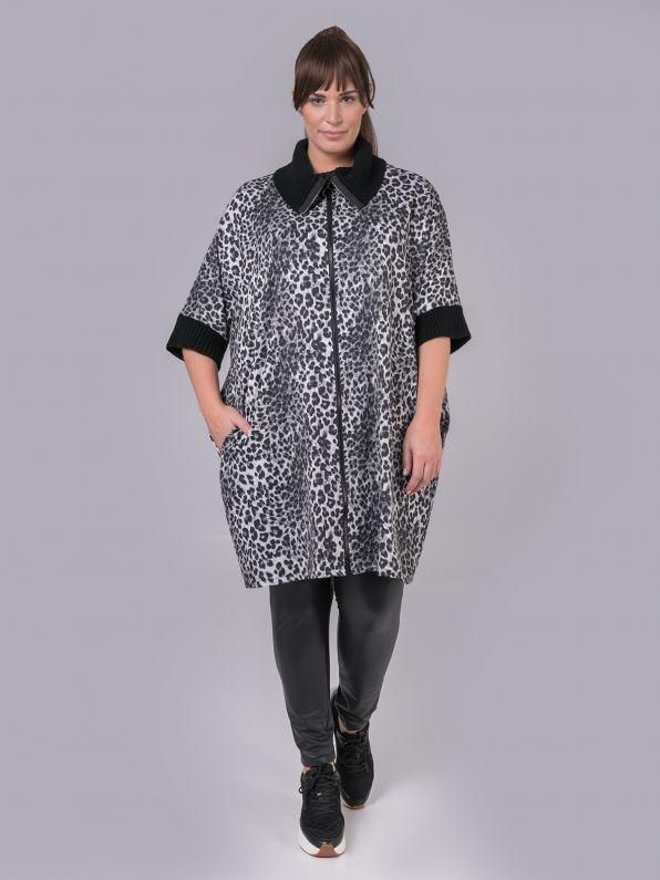 Zipped tunic in animal print