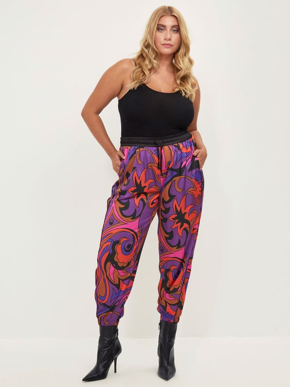 Satin joggers in colorful print