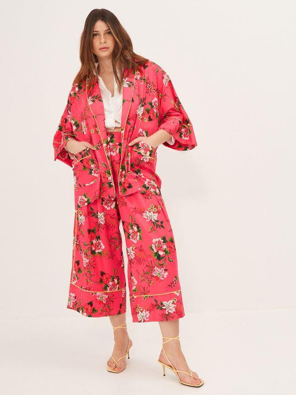 Satin kimono in floral print
