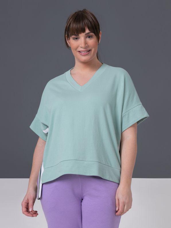 Short-sleeve sweatshirt with stripes