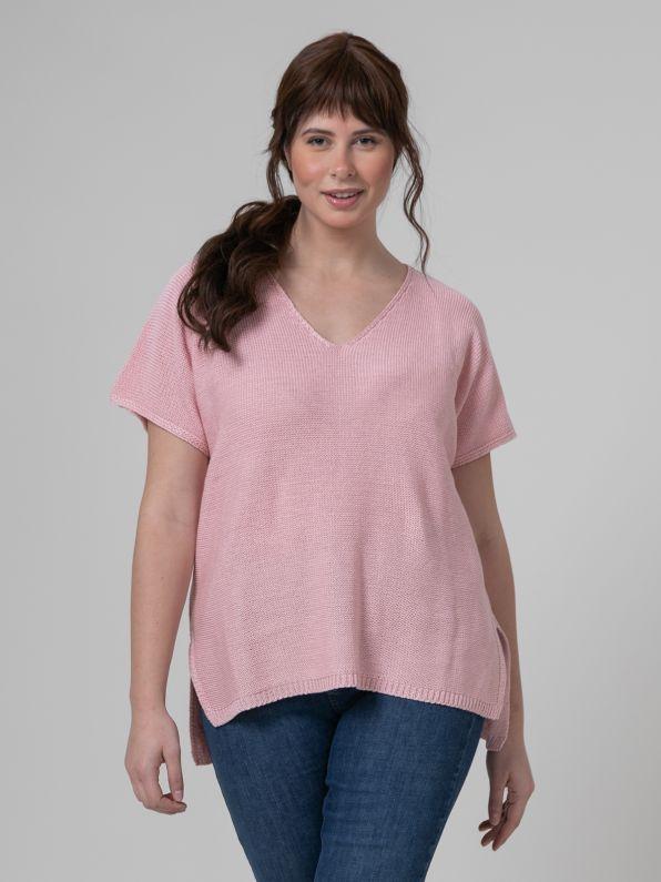 Short-sleeve V-neck jumper in pink