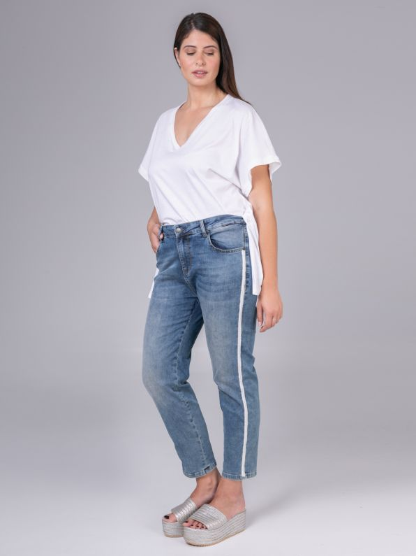 Cigarette jeans with contrasting band