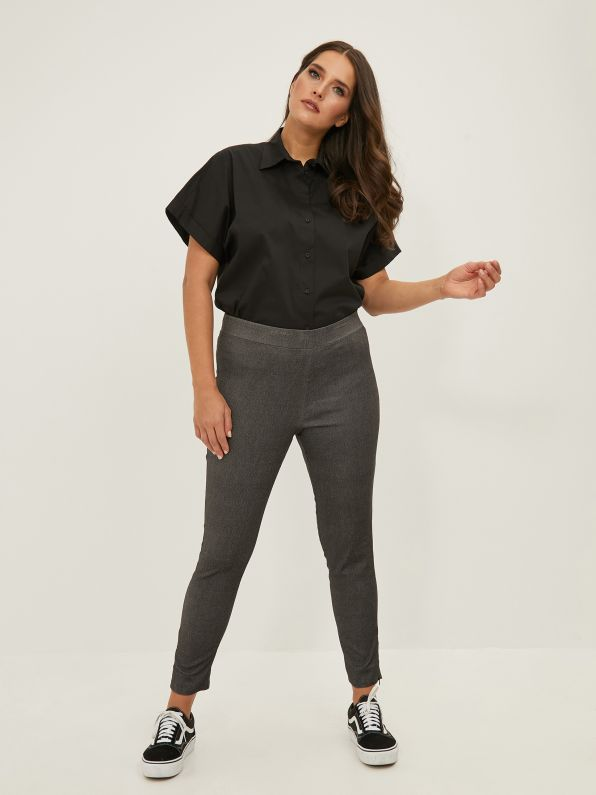 Slim-leg pants in washed black denim
