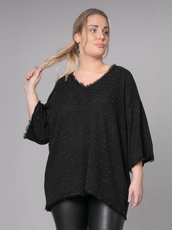 Lurex knit V-neck sweater