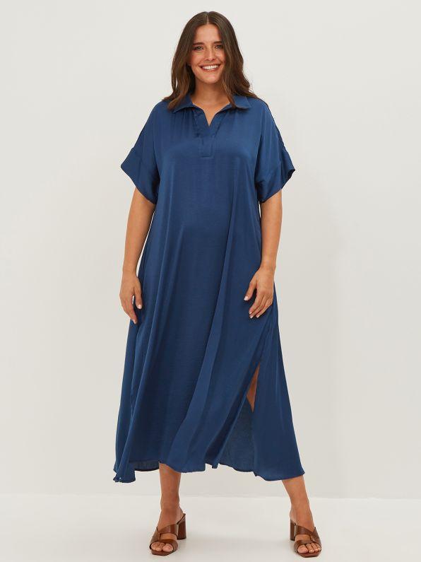 Φόρεμα σατέν με γιακά