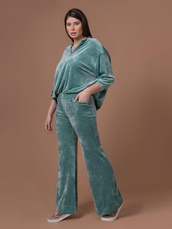 Velour bootcut trousers in aqua blue