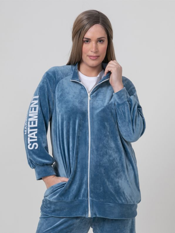 Velour jacket with print