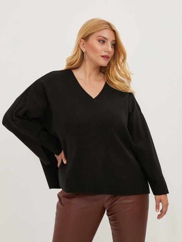 Wide-sleeve V-neck jumper