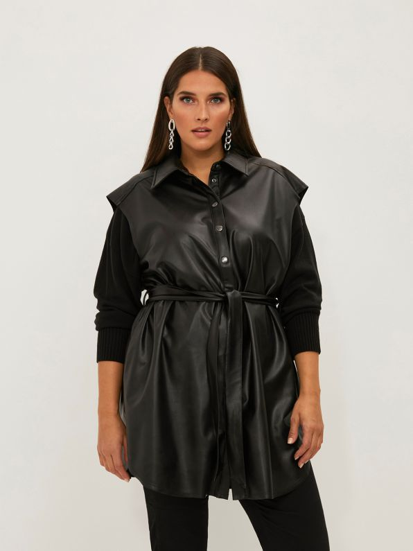 Long faux leather gilet with belt