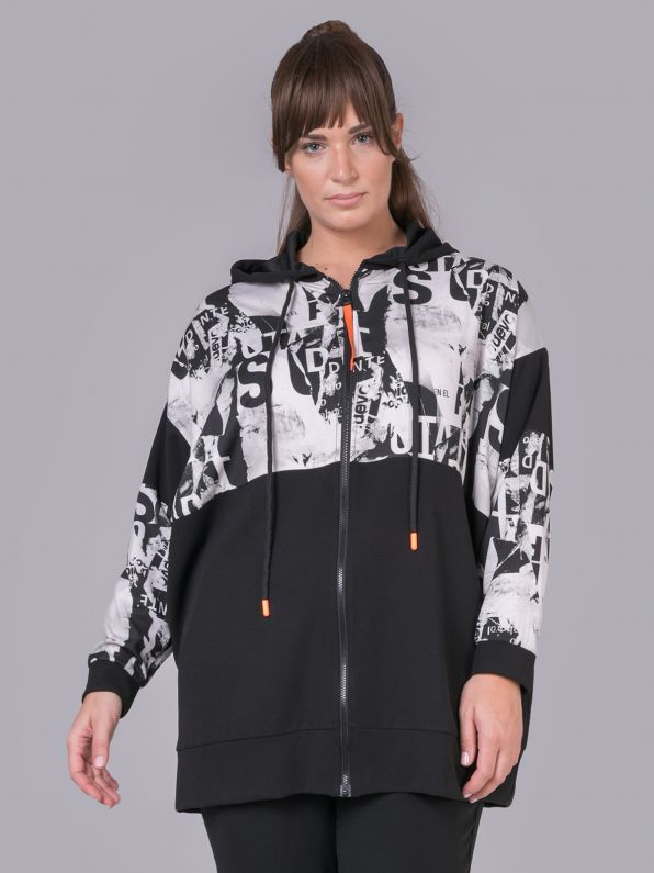 Long-sleeve hoodie jacket with prints