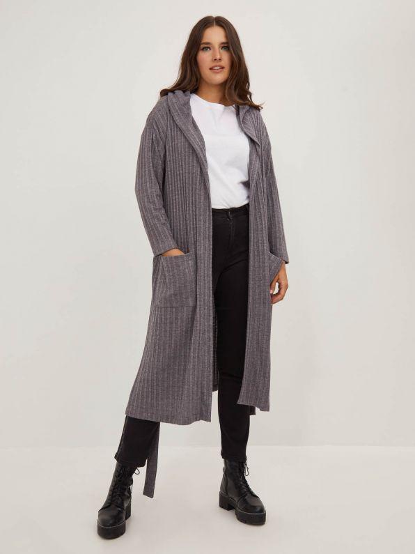 Long ribbed hoodie jacket