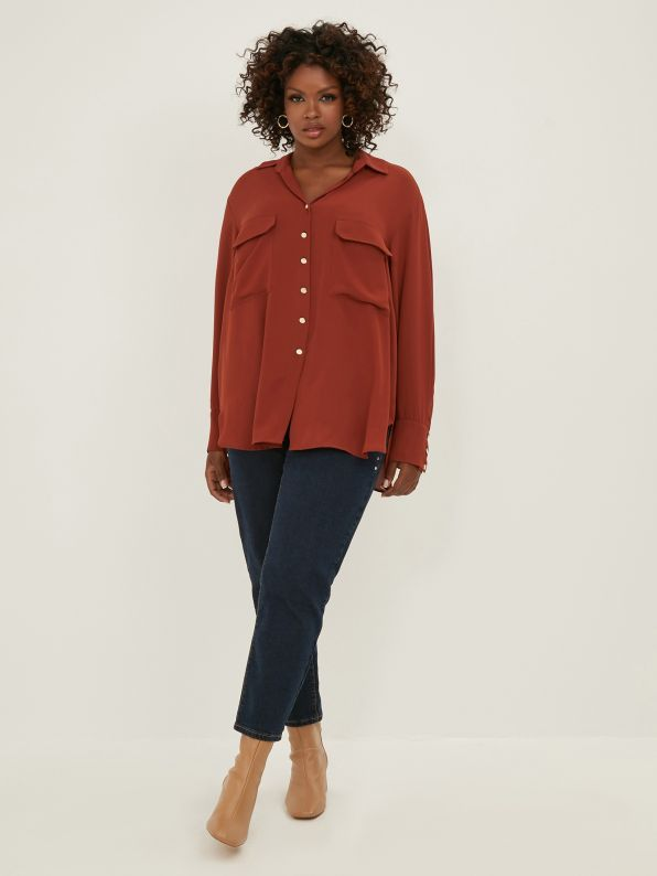 Long-sleeve shirt with pockets