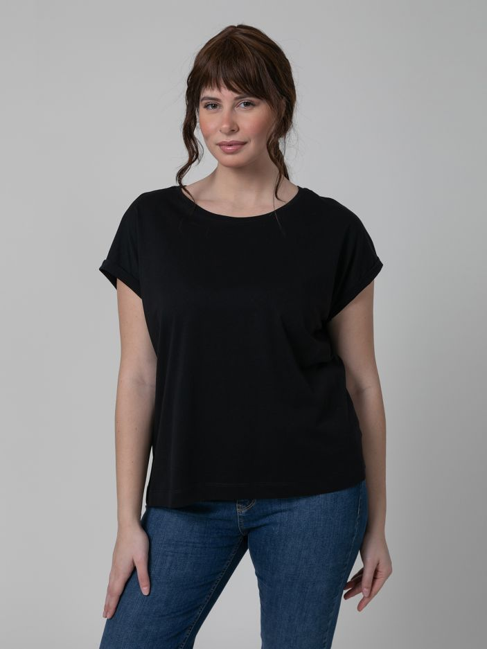 Cotton scoop neck top BLACK