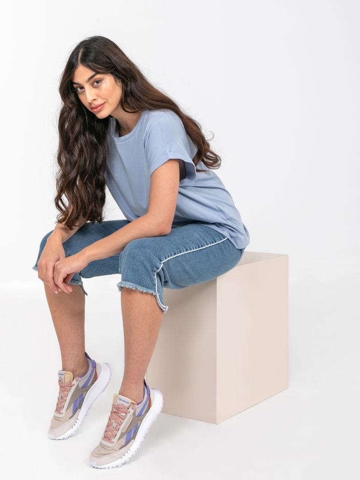 Cotton scoop neck top in light blue