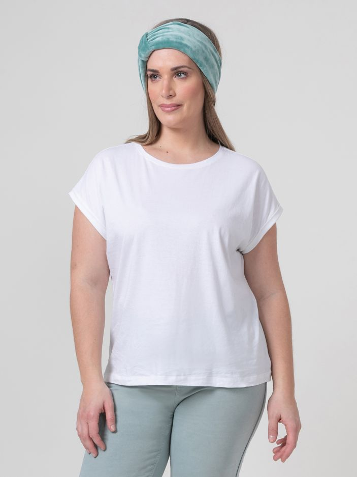 Cotton scoop neck top WHITE