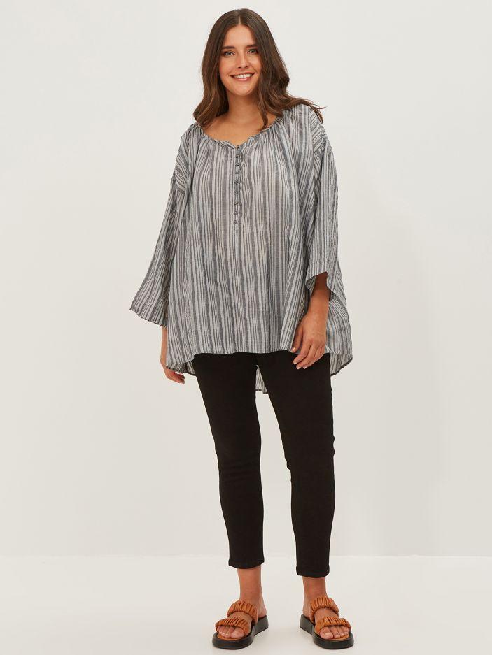 Cotton/viscose button-neck top in stripe