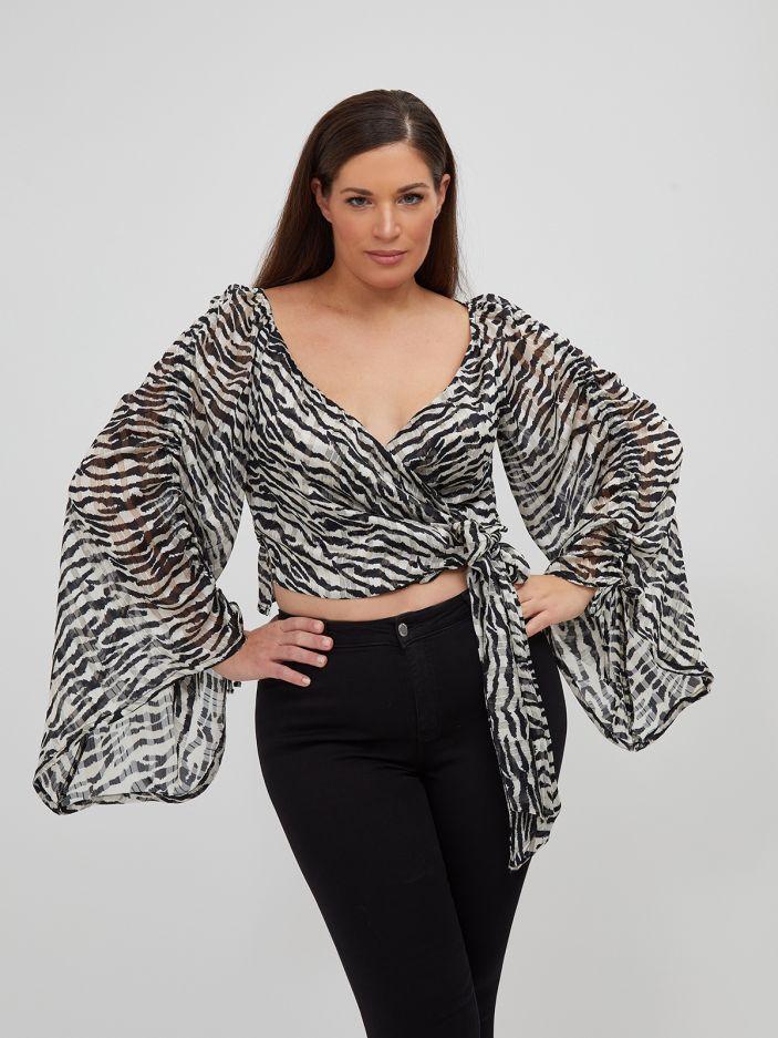 Cropped wrap top in zebra print