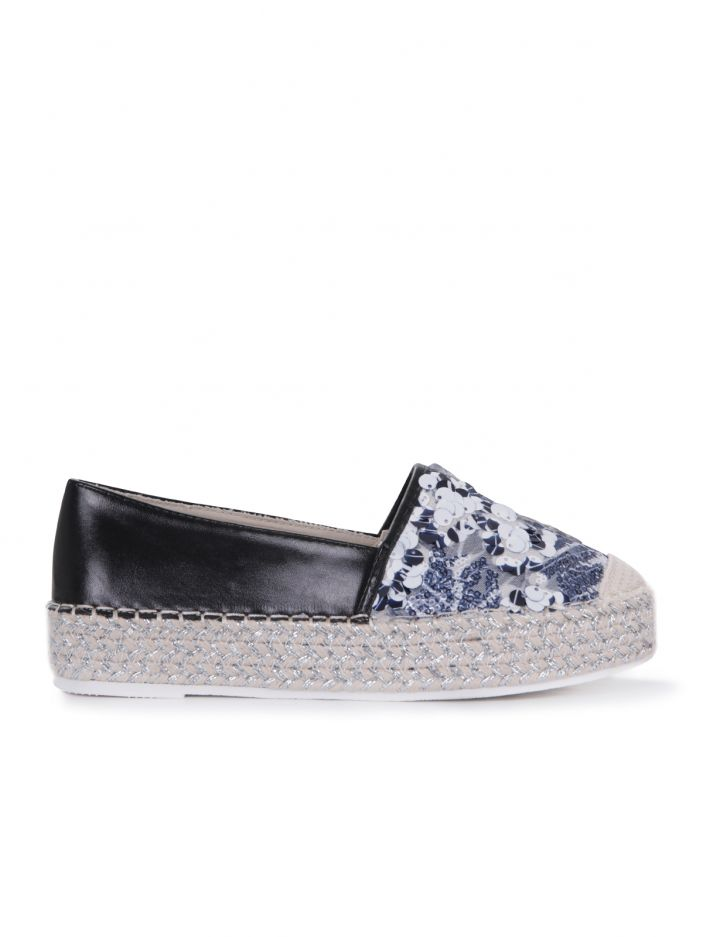 Espadrilles in black leather & sequins BLACK