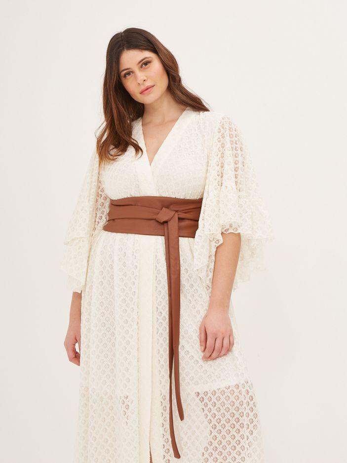 Faux leather obi belt