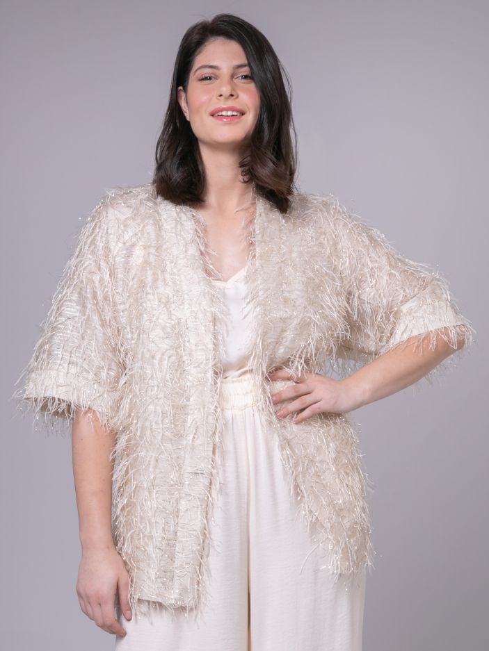 Feather-effect cardigan
